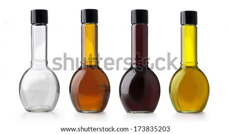 Olive oil and vinegar bottles. Isolated on white background - stock photo