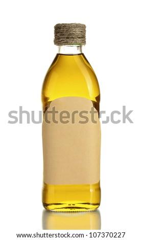 Olive oil bottle isolated on white - stock photo