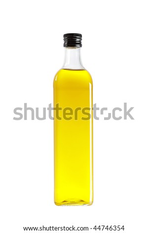 Olive oil bottle isolated on white background - stock photo