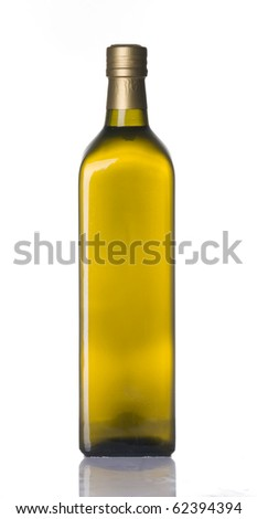 Olive oil bottle isolated over white background - stock photo