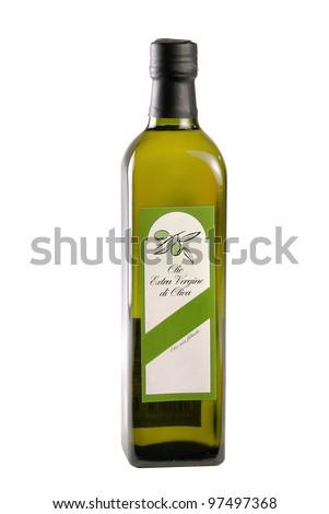 olive oil bottle on white zone - stock photo