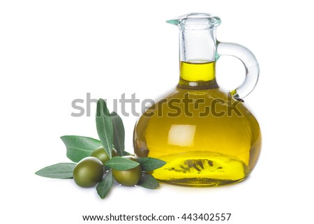 Olive oil bottle with leaves and olives isolated on  a white background - stock photo
