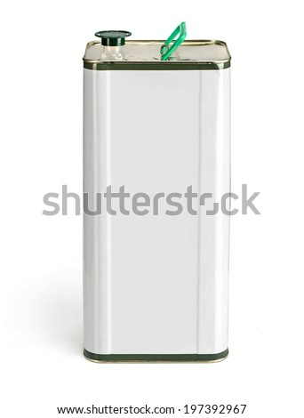 Olive oil can with blank space for general purpose / studio photography of olive oil container over white background  - stock photo