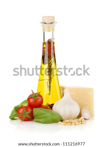 Olive oil, cherry tomatoes, basil, garlic and parmesan. Isolated on white background - stock photo