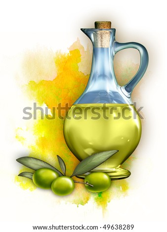 Olive oil in a glass container and some olives. Digital illustration, clipping path included. - stock photo