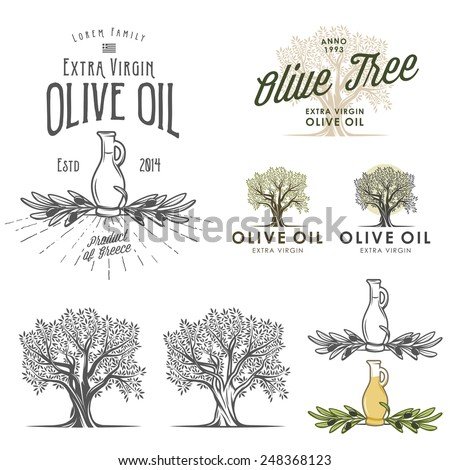 Olive oil labels and design elements - stock photo