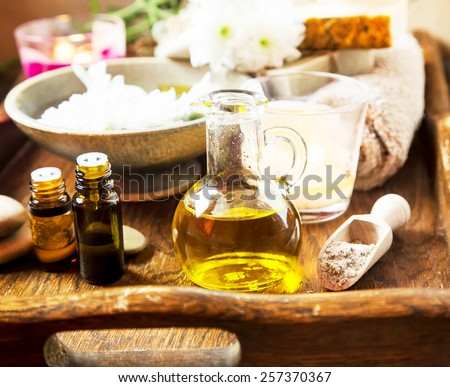 Olive Oil Spa Therapy Setting , Wellness Treatment with Olive Oil Products - stock photo
