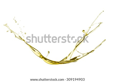 Olive oil splash isolated on white background. - stock photo