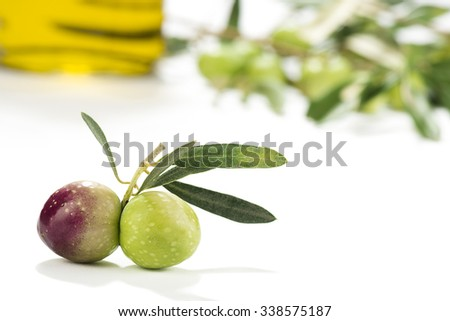 Olive Oil with Olive's Branch - stock photo