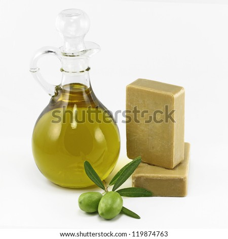 Olive products , virgin olive oil and soap - stock photo
