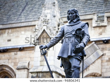 Oliver Cromwell - Statue in front of Palace of Westminster (Parliament), London, UK - stock photo