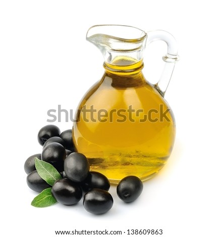 olives and a bottle of olive oil - stock photo