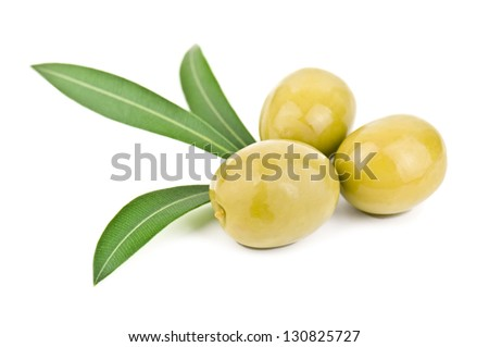 olives and leaves on white - stock photo