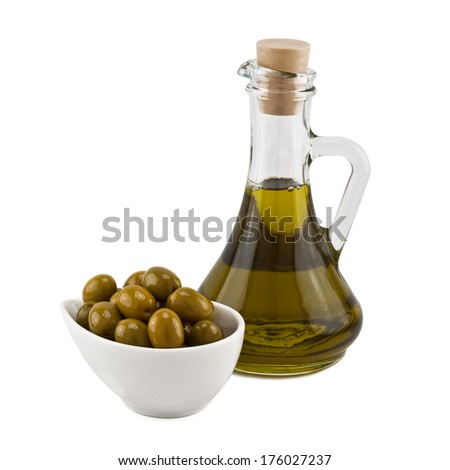 olives and olive oil in a bottle isolated on white background - stock photo