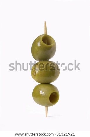 Olives on a toothpick. Three olives on white background. - stock photo