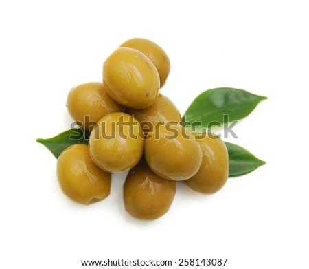 Olives on twig isolated on white background - stock photo
