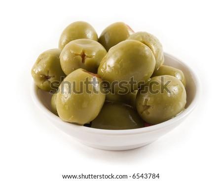 Olives on white - stock photo