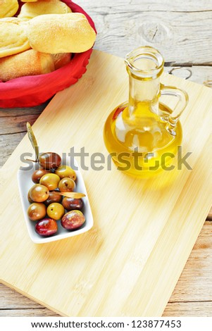 olives, tomatoes and bread - stock photo