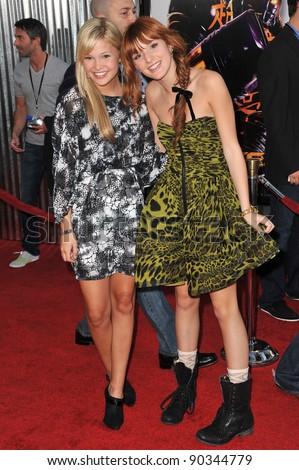 "Olivia Holt & Bella Thorne (right) at the Los Angeles premiere of ""Real Steel"" at Universal Studios Hollywood. October 2, 2011  Los Angeles, CA Picture: Paul Smith / Featureflash - stock photo"