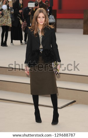 Olivia Palermo arriving for the Burberry Prorsum catwalk show as part of London Fashion Week AW13, Kensington Gardens, London. 18/02/2013 Picture by: Steve Vas - stock photo