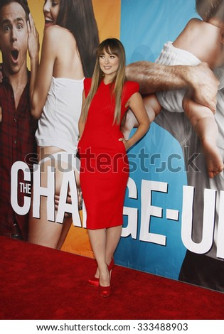 """Olivia Wilde at the Los Angeles Premiere of """"The Change-Up"""" held at the Mann Village Theater in Los Angeles, California, United States on August 1, 2011.  - stock photo"""