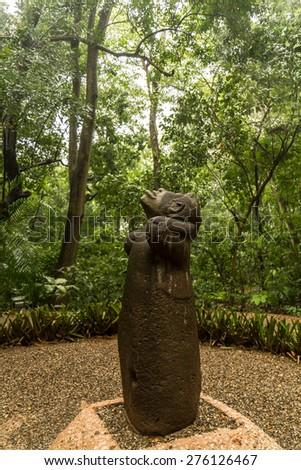 Olmec basalt monkey - Villahermosa, Mexico - stock photo