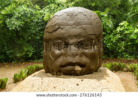 Olmec big basalt head - Villahermosa, Mexico - stock photo