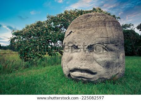 Olmec Colossal Head in the ancient city of La Venta - stock photo