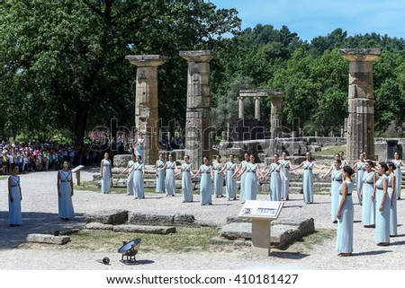 Olympia, Greece - April 20, 2016: Last rehersal of the the lighting ceremony of the flame for the Olympic Games Rio 2016 and the torch relay, temple Hera at ancient Olympia, Greece. - stock photo