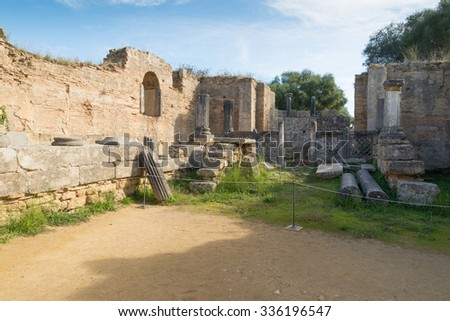 Olympia, Greece. 5th century Byzantine church which was rebuilt over the ruins of Pheidias workshop during the Byzantine era  - stock photo