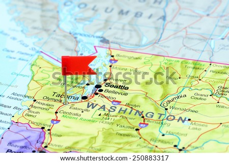Olympia pinned on a map of USA  - stock photo