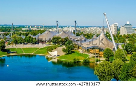 Olympiapark in Munich, Germany, is an Olympic Park which was constructed for the 1972 Summer Olympics - stock photo