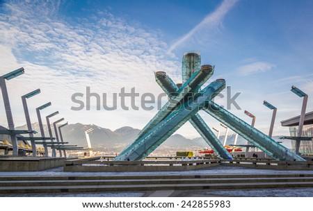 Olympic Cauldron at Jack Poole Plaza, Vancouver, British Columbia - stock photo