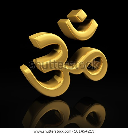 Om gold symbol on a black background with reflection - stock photo