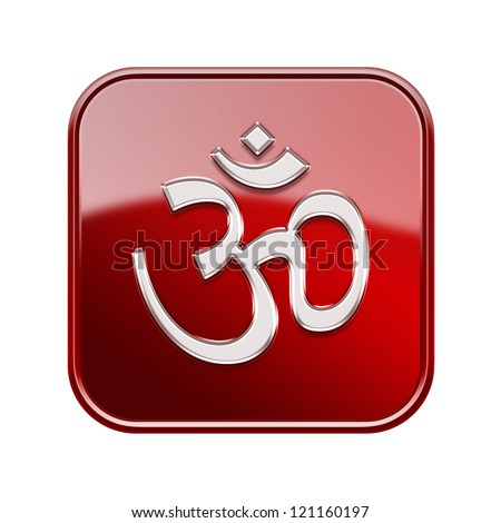 Om Symbol icon glossy red, isolated on white background - stock photo
