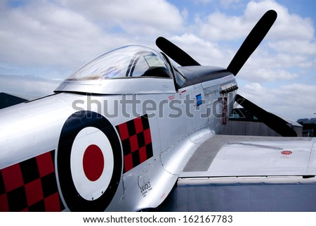 "OMAKA-APRIL 03:American P51 Mustang aircraft on the display at royal New Zealand air force ""Omaka airshow"" on April 03, 2013 in Blenheim New Zealand - stock photo"