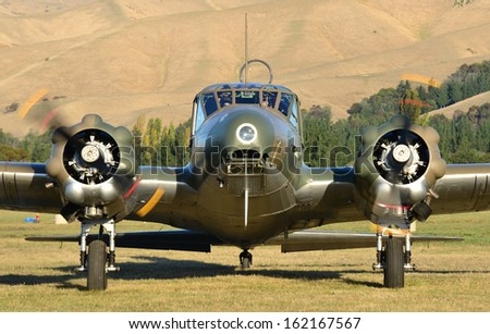 """OMAKA-APRIL 03:Avro Anson aircraft on the runway during the royal New Zealand air force """"Omaka airshow"""" on April 03, 2013 in Blenheim New Zealand - stock photo"""