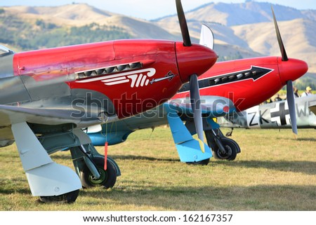 """OMAKA-APRIL 03:Rissian YAK3 aircraft on the display during the royal New Zealand air force """"Oamak airshow"""" on April 03, 2013 in Blenheim New Zealand - stock photo"""