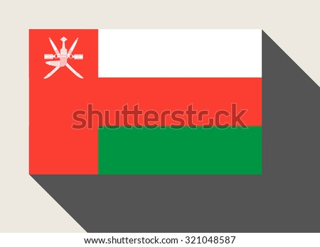 Oman flag in flat web design style. - stock photo