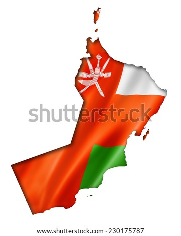 Oman flag map, three dimensional render, isolated on white - stock photo