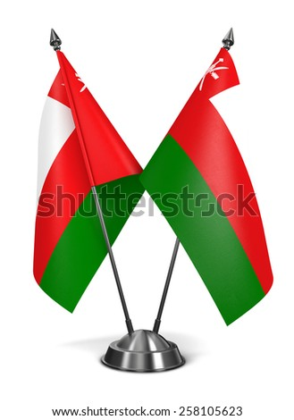 Oman - Miniature Flags Isolated on White Background. - stock photo