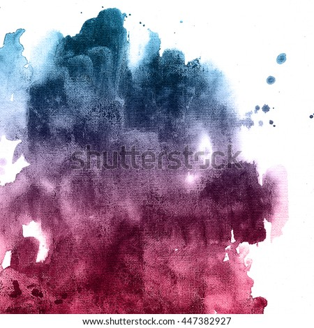 Ombre red and blue colorful texture. Abstract hand drawn watercolor background.  - stock photo