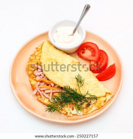 Omelet with bacon - stock photo