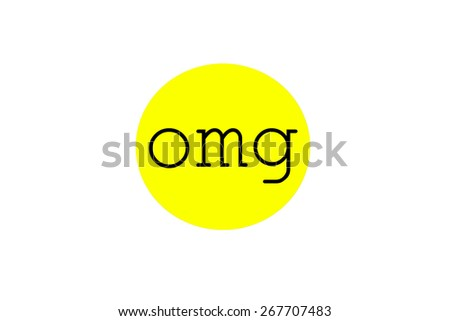 Omg sign illustration in a bright yellow circular bubble shape, isolated on white background. - stock photo