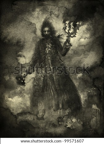Ominous figure in clouds of smoke - stock photo
