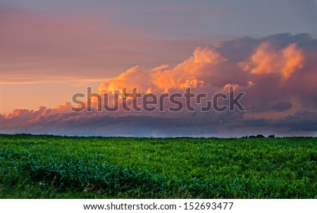 ominous storm approaching corn field at sunset - stock photo