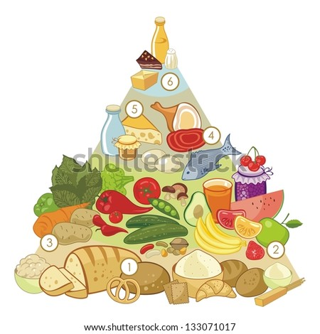 Omnivore nutrition pyramid with numbered food groups - stock photo
