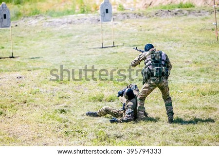 Omsk, Russia - July 1, 2015: military training, riot police unite - Omon -  in Omsk - stock photo
