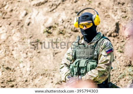 Omsk, Russia - July 1, 2015: military training, riot police unite - Omon -  in Omsk, russian soldier  - stock photo