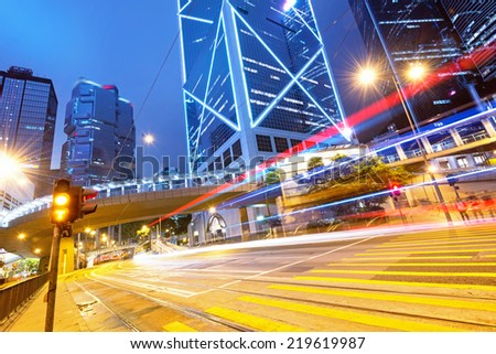 On a busy Hongkong street night - stock photo